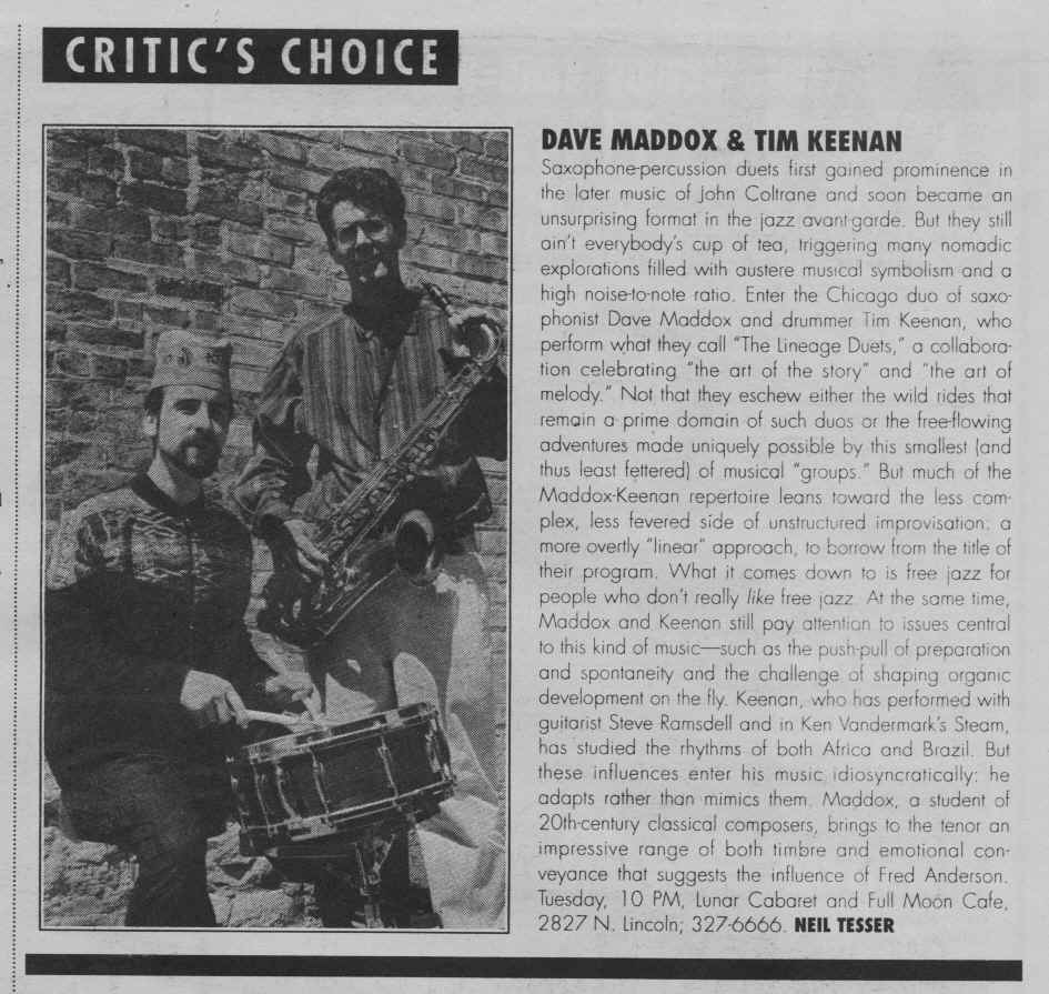 Feb '96 Chicago Reader Critic's Choice (Neil Tesser)